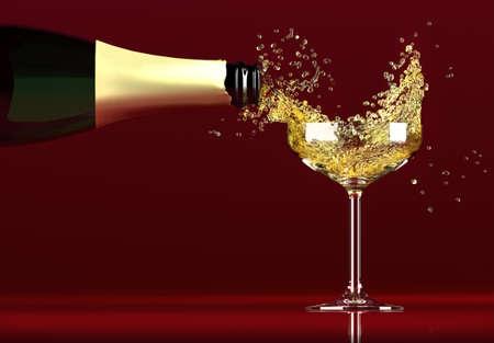 brindisi champagne: bottiglia di Champagne versando nel bicchiere, dinamica Archivio Fotografico
