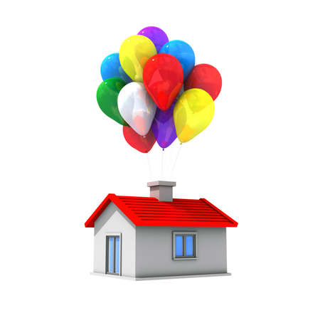 Moving house with lots of colorful balloons flying  photo
