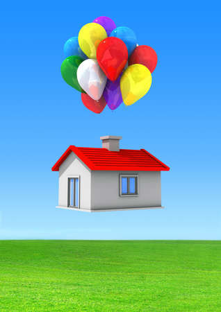 house moving: Moving house with lots of colorful balloons flying on a green lawn