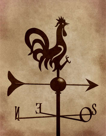 represented: weathercock represented on old paper