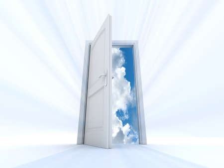 that: white door that opens to an interior of the sky and clouds with light beams Stock Photo