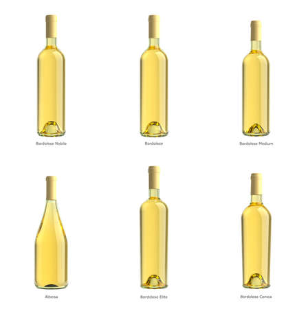 white wine bottle: collection of bottles of white wine on a white background isolated