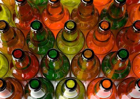 botellas vacias: Botellas vacías de cerveza agrupadas, enmarcado desde arriba
