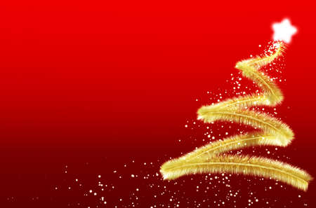 chrismas: abstract christmas tree with red background Stock Photo