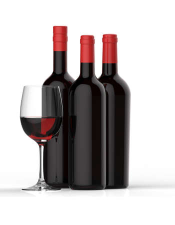 merlot: Bottles of red wine with glass on white background