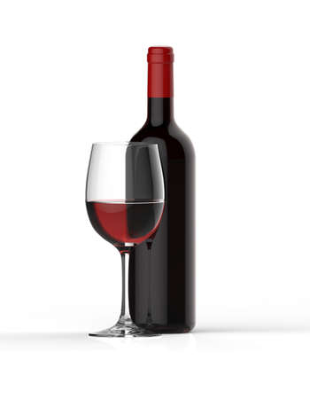 merlot: Bottle of red wine with glass on white background
