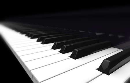 teclado de piano: piano, perspectiva borrosa sobre fondo negro Foto de archivo