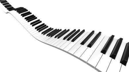 teclado de piano: Teclado de piano curva sinusoidal de nivel de negro