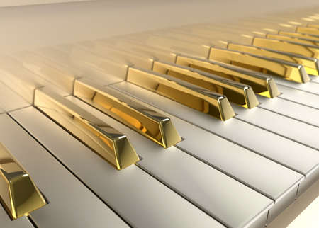 Detailed Piano with gold keys