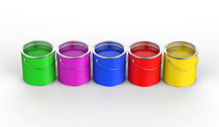 paint cans: colorful paint cans open in a row Stock Photo