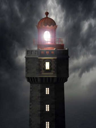 3d illustration of the Jument lighthouse, located on the island of Ouessant in Brittany  France    illustration