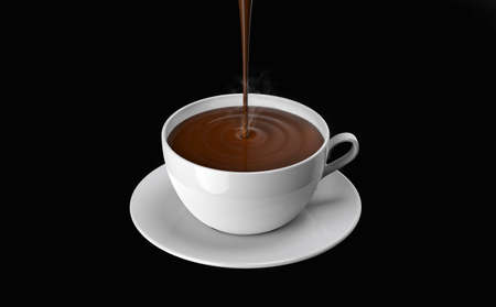 chocolate pudding: chocolate poured into the cup, on a black background