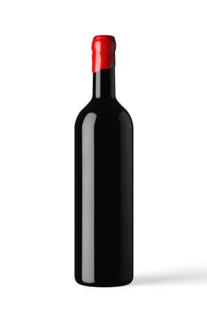 bottle of red wine isolated with wax capsule photo
