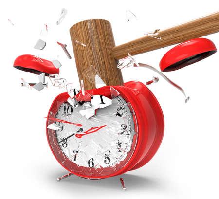 martillo golpeando un reloj de alarma sobre un fondo blanco