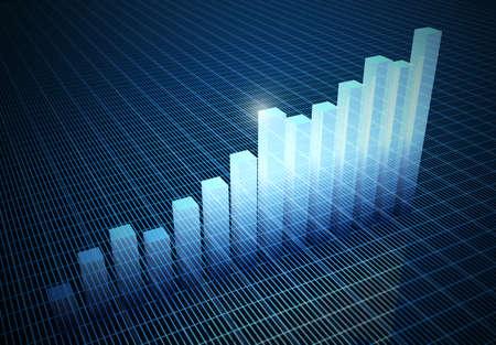 histogrammen stijgen op blauwe abstracte Stockfoto