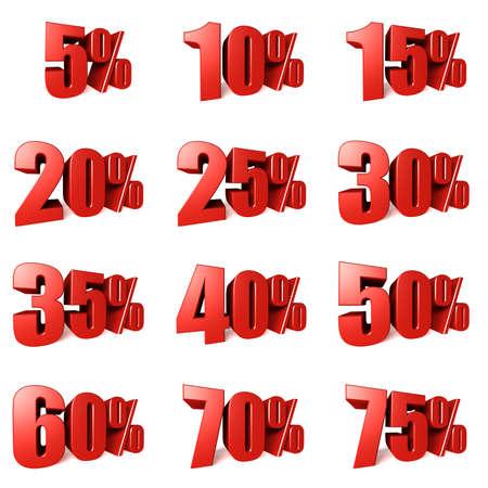 25 to 30: collection written rebates red on white Stock Photo