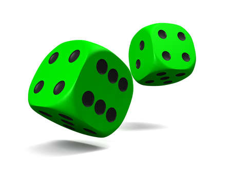 dice: green dice, thrown on a white background