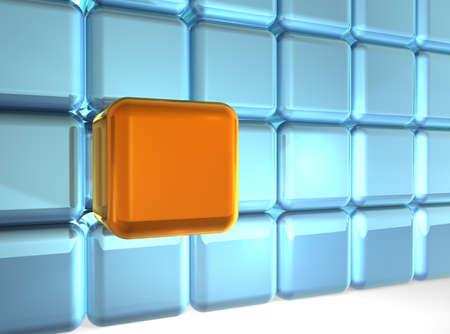 Wall of 24 W�rfel (23 blau, orange extrahiert 1)