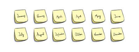 stickies: stickies with handwritten months