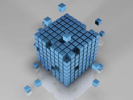 3d bitmap: 512 blue cubes Stock Photo