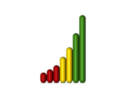 3D bar graph showing profit increase over time