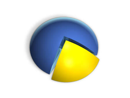 Pie graph in perspective with various colors and equal percentages photo