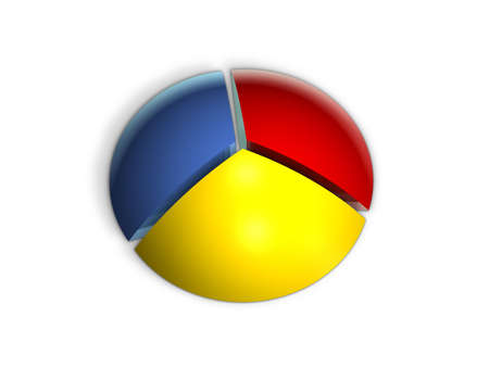 office force: Pie graph in perspective with various colors and equal percentages