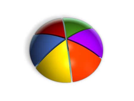 3D Pie Graph in Perspective Banco de Imagens