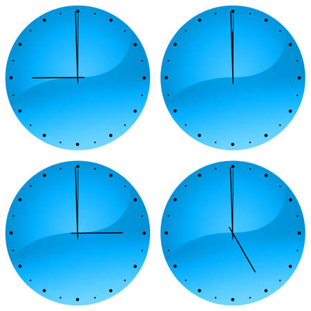 oclock: Illustration of watch showing 9 oclock, 12 oclock, 3 oclock and 5 oclock