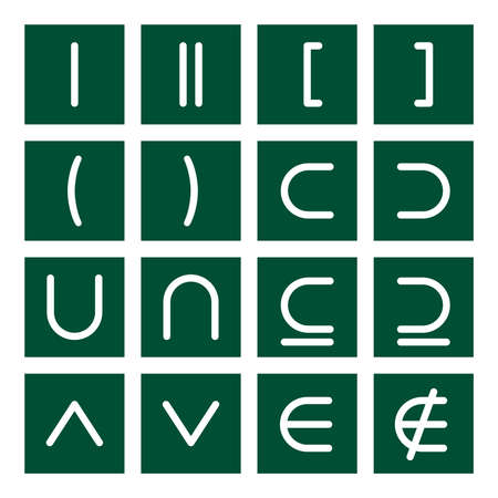 parentheses: 16 icon set of mathematical symbols (function operators, group operators)