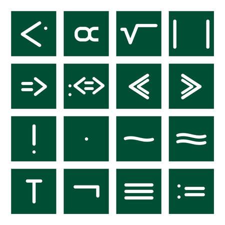 16 icon set of mathematical symbols (function operators, group operators)