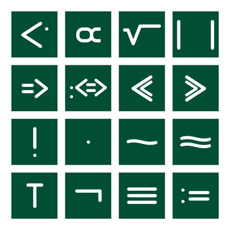 square root: 16 icon set of mathematical symbols (function operators, group operators)