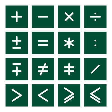 16 icône ensemble de symboles opérations mathématiques