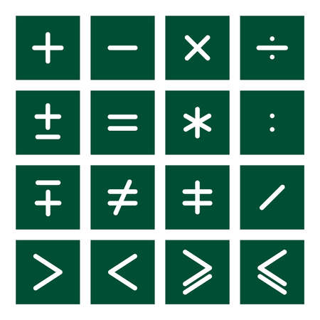 than: 16 icon set of mathematical operations symbols Illustration