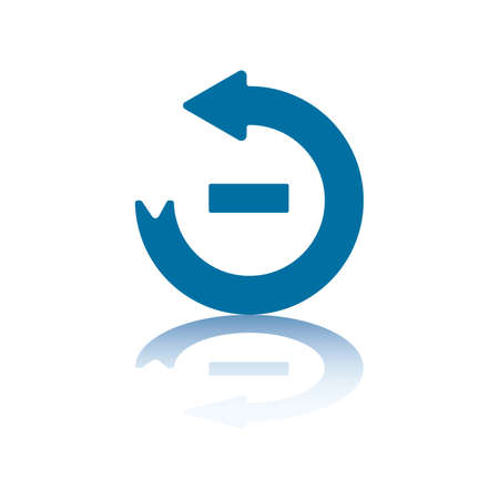 minus sign: Circular Arrow Pointing Left With Minus Sign in its Center and Reflection on Bottom Plane Illustration