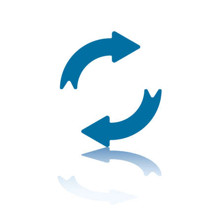 refrescarse: Recargar  Refresh flechas, dos flechas opuesto simétrico con la reflexión en la parte inferior plano  Vectores