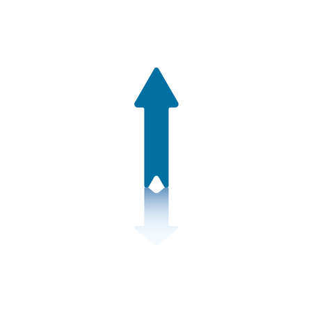 blue signage: Vertical Arrow Pointing Up With Reflection on Bottom Plane