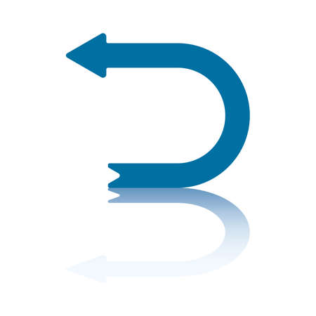 Horizontal D Shaped Arrow With Reflection on Bottom Plane Pointing Right Pointing Left