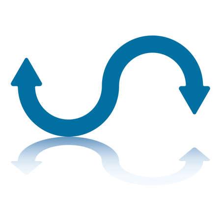 fl�che double: Courbe de pointe de fl�che double fl�che r�flexion sur le plan du bas vers le haut et bas