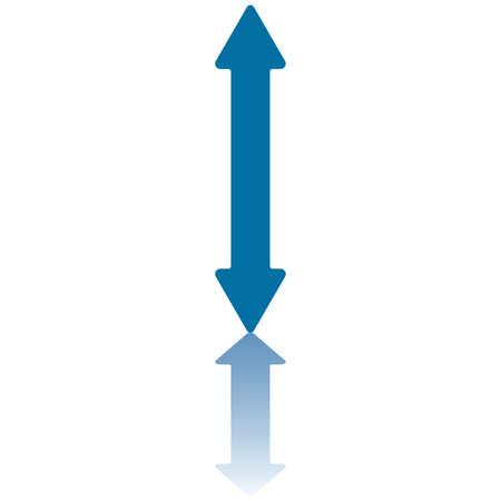 Double Arrowhead Vertical Arrow Reflecting on Bottom Plane Stock Vector - 3511630