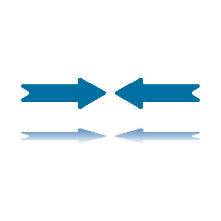 Two Aligned Horizontal Arrows Pointing To Each Other and Reflecting on Bottom Plane