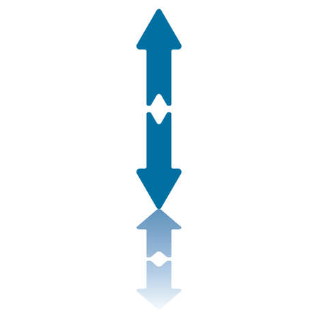 aligned: Two Aligned Vertical Arrows Pointing in Opposite Directions (up and down) and Reflecting on Bottom Plane