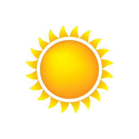 Sun Icon With Flames, Color, Gradient OrangeYellow Vector
