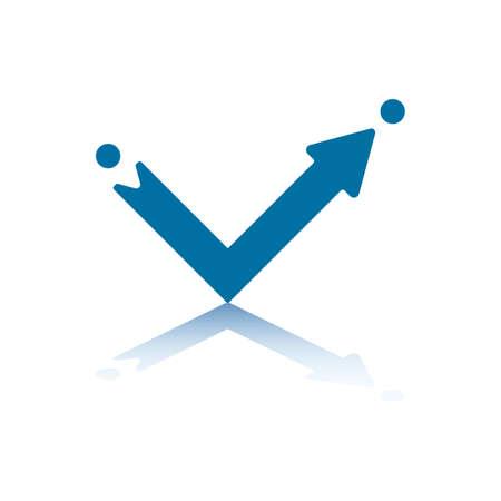 backwards: Rechte hoek pijl wijzen van punt A naar punt B en reflecterende weg onder vlieg tuig een