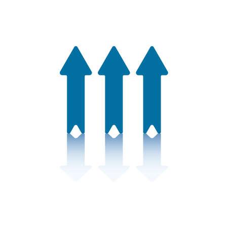 backwards: Drie parallelle verticale pijlen aanwijs and die weerspiegelen op bodem niveau  Stock Illustratie