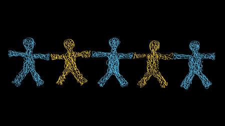 alianza: Freehand dibujados a mano siluetas de cinco personas con los brazos abiertos la mano