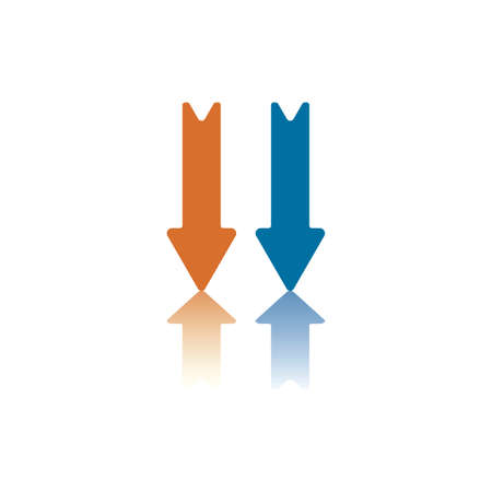 Two Parallel Vertical Arrows, Both Pointing Up, One Blue, One Orange Vector