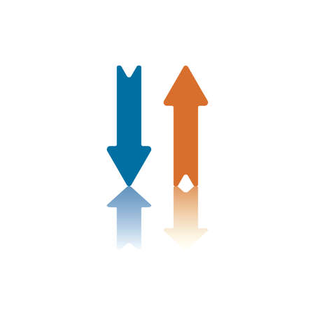 double page: Two Parallel Vertical Arrows, One Blue, One Orange, Right One Pointing Up, Left One Pointing Down