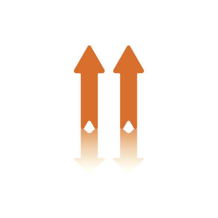backwards: Two Parallel Vertical Arrows, Both Pointing Up,  One Blue, One Orange