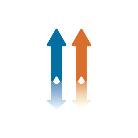 both: Two Parallel Vertical Arrows, Both Pointing Up,  One Blue, One Orange